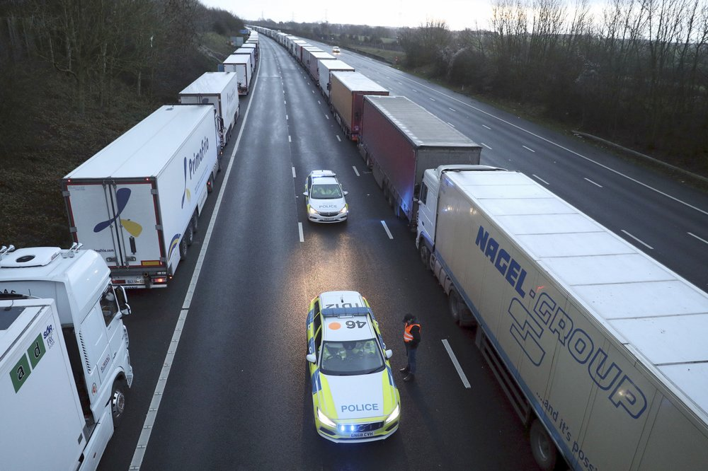France relaxes its coronavirus-related ban on trucks entering from Britain
