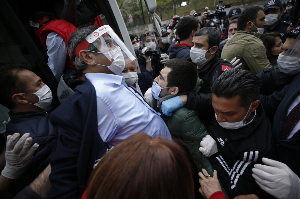 Police in Istanbul detain trade union leader Arzu Cerkezoglu and several other union leaders who tried to stage a May Day march in defiance of a coronavirus lockdown and a ban on demonstrations at a historic square