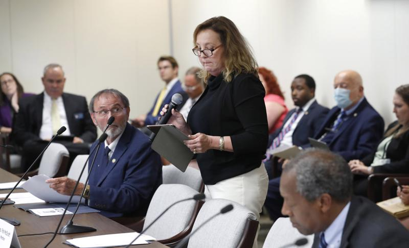 Judy Wiegand speaks during a House Judiciary Committee meeting in Raleigh, N.C., Tuesday, June 22, 2021. Wiegand, who was married when she was 13, was speaking in favor of Senate Bill 35, which would raise the minimum age to be married to 16. (Ethan Hyman/The News & Observer via AP)