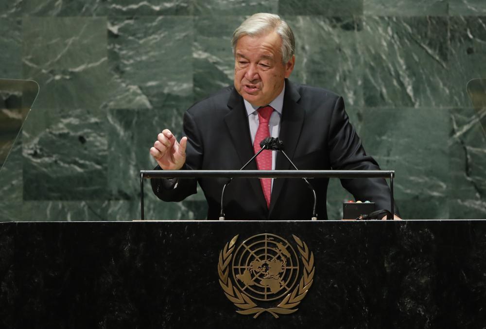Der Generalsekretär der Vereinten Nationen, Antonio Guterres, spricht am Dienstag, 21. September 2021, im Hauptsitz der Vereinten Nationen in New York auf der 76. Sitzung der UN-Generalversammlung.  (Eduardo Munoz/Pool-Foto über AP)
