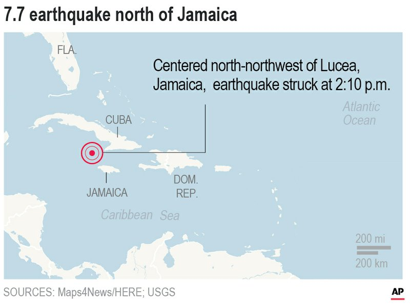 Image for Magnitude 7.7 earthquake hits between Cuba and Jamaica