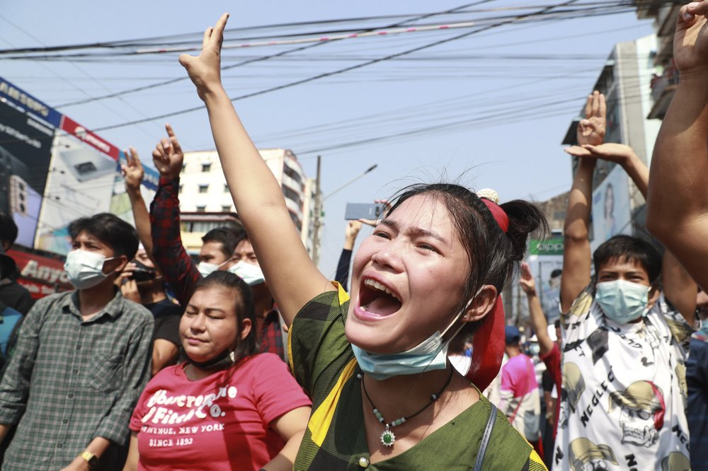 Who is organizing the ever-growing protests in Myanmar?