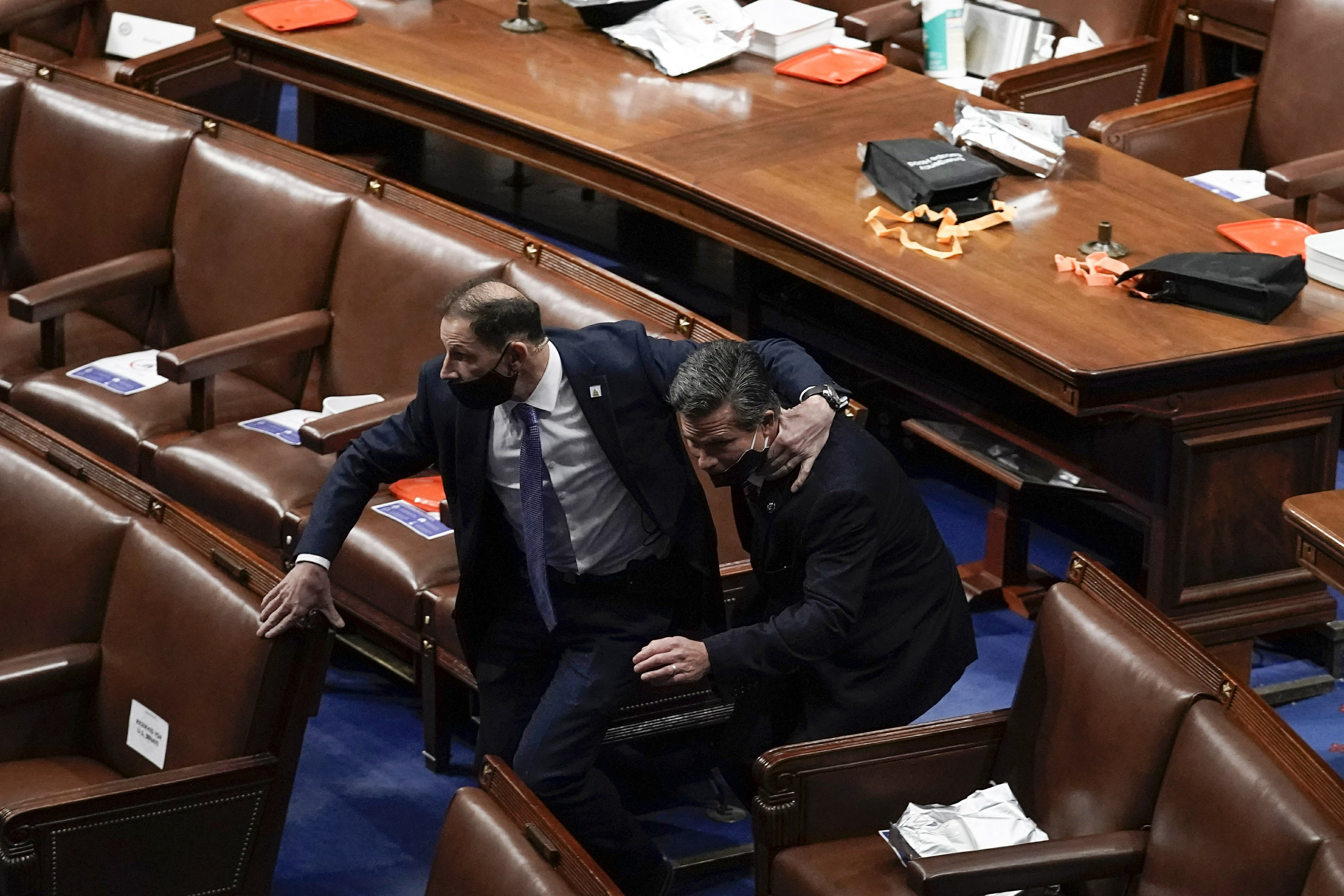 "The pro-Trump mob took over the presiding officer's chair in the Senate, the offices of the House speaker and the Senate dais, where one yelled, ""Trump won that election."""