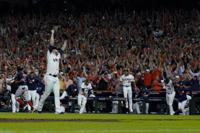 Houston Astros pitcher Ryan Pressly celebrates their win against the Boston Red Sox in Game 6 of baseball's American League Championship Series Friday, Oct. 22, 2021, in Houston. The Astros won 5-0, to win the ALCS series in game six. (AP Photo/David J. Phillip)
