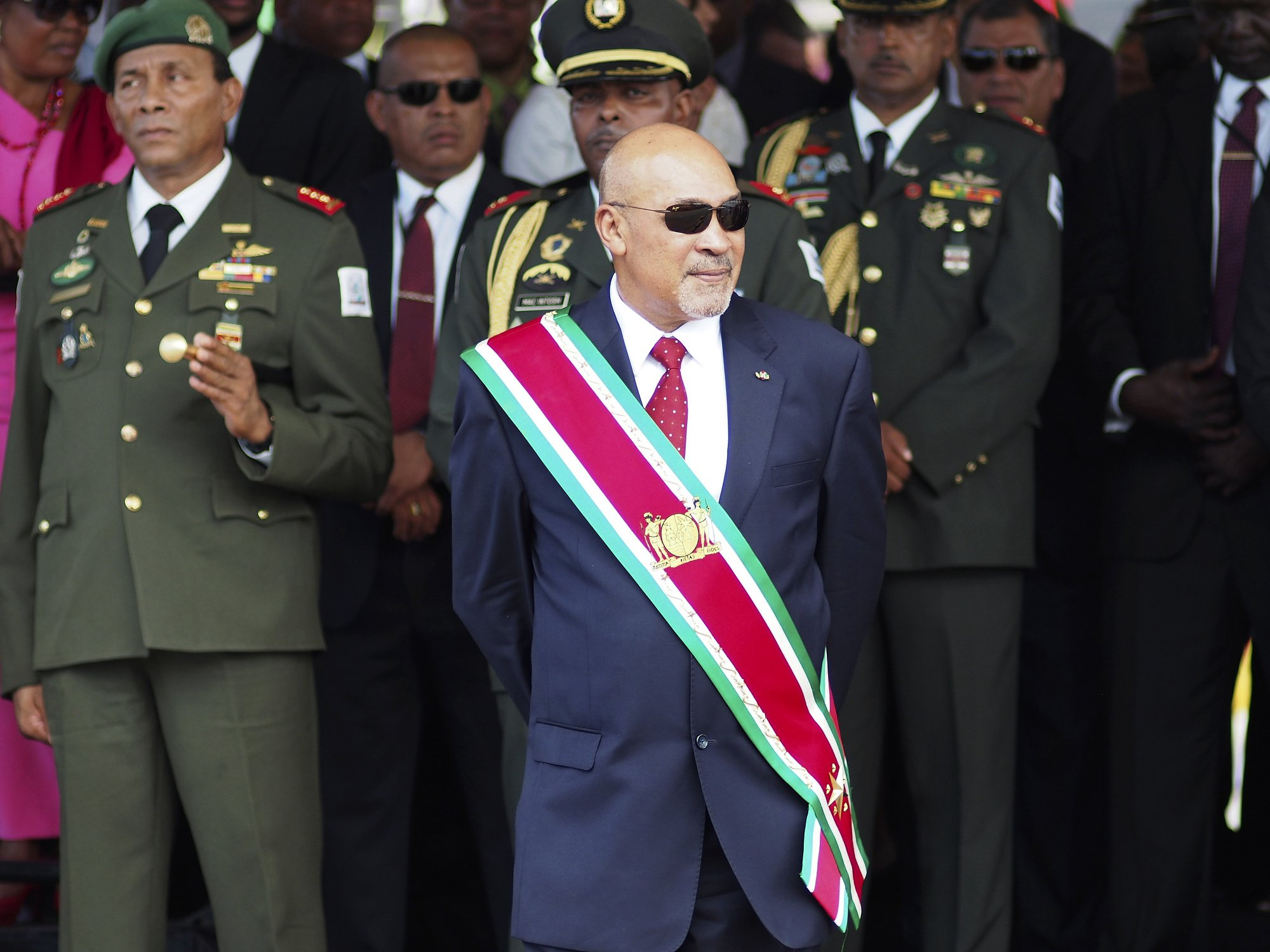 Supporters greet Suriname president after conviction