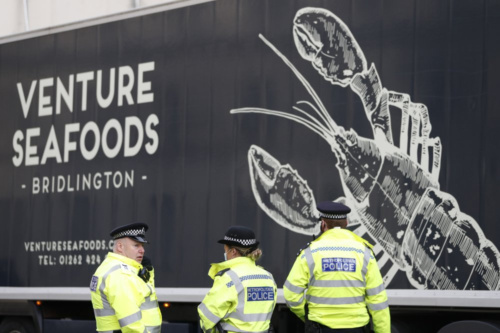 UK seafood truckers protest at Parliament over Brexit red tape that is crippling their business