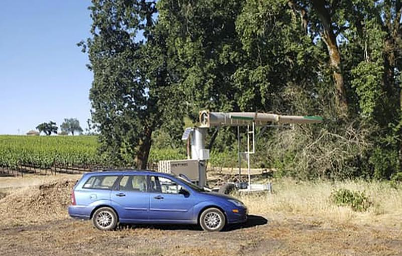 This photo provided by the Sonoma County Sheriff's Office shows a fan at a vineyard in Santa Rosa, Calif. where a man was found Tuesday, June 8, 2021 by a sheriff's deputy responding to a call about a suspicious vehicle parked in the area. Officials in Northern California rescued the man who said he had been trapped inside a large fan at a vineyard for two days. (Sonoma County Sheriff's Office via AP)