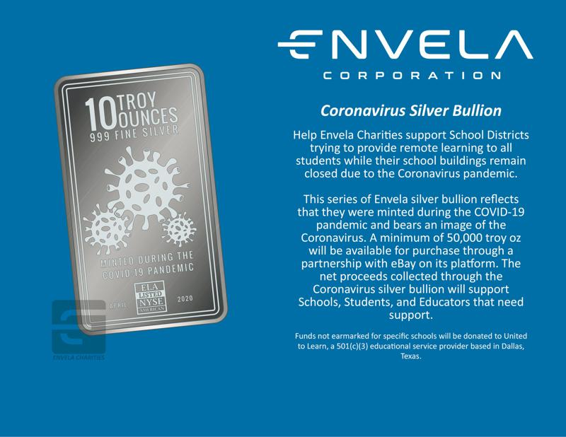 Envela To Donate Proceeds From Custom Silver Bars To Help Kids Continue Learning During Pandemic