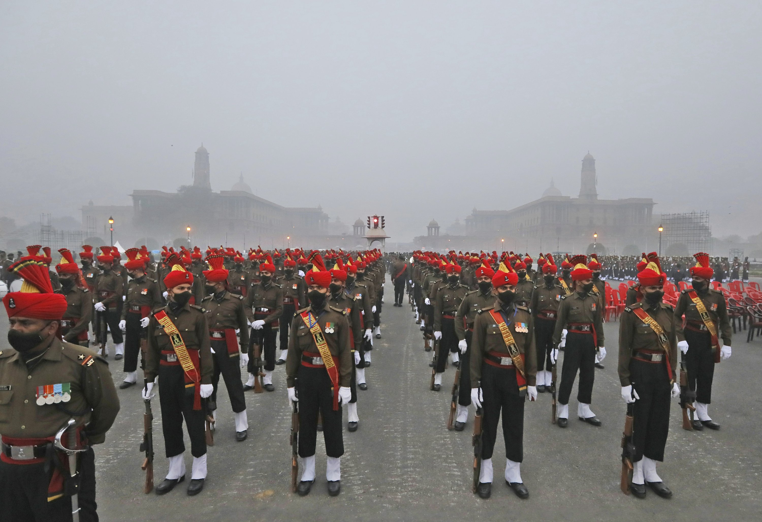 AP PHOTOS: Marchers rehearse for India's Republic Day parade