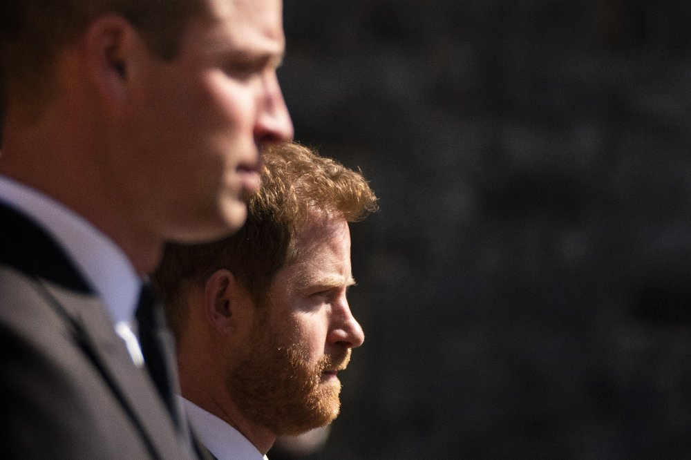 Prince Harry and Prince William seen chatting together after funeral of grandfather Prince Philip