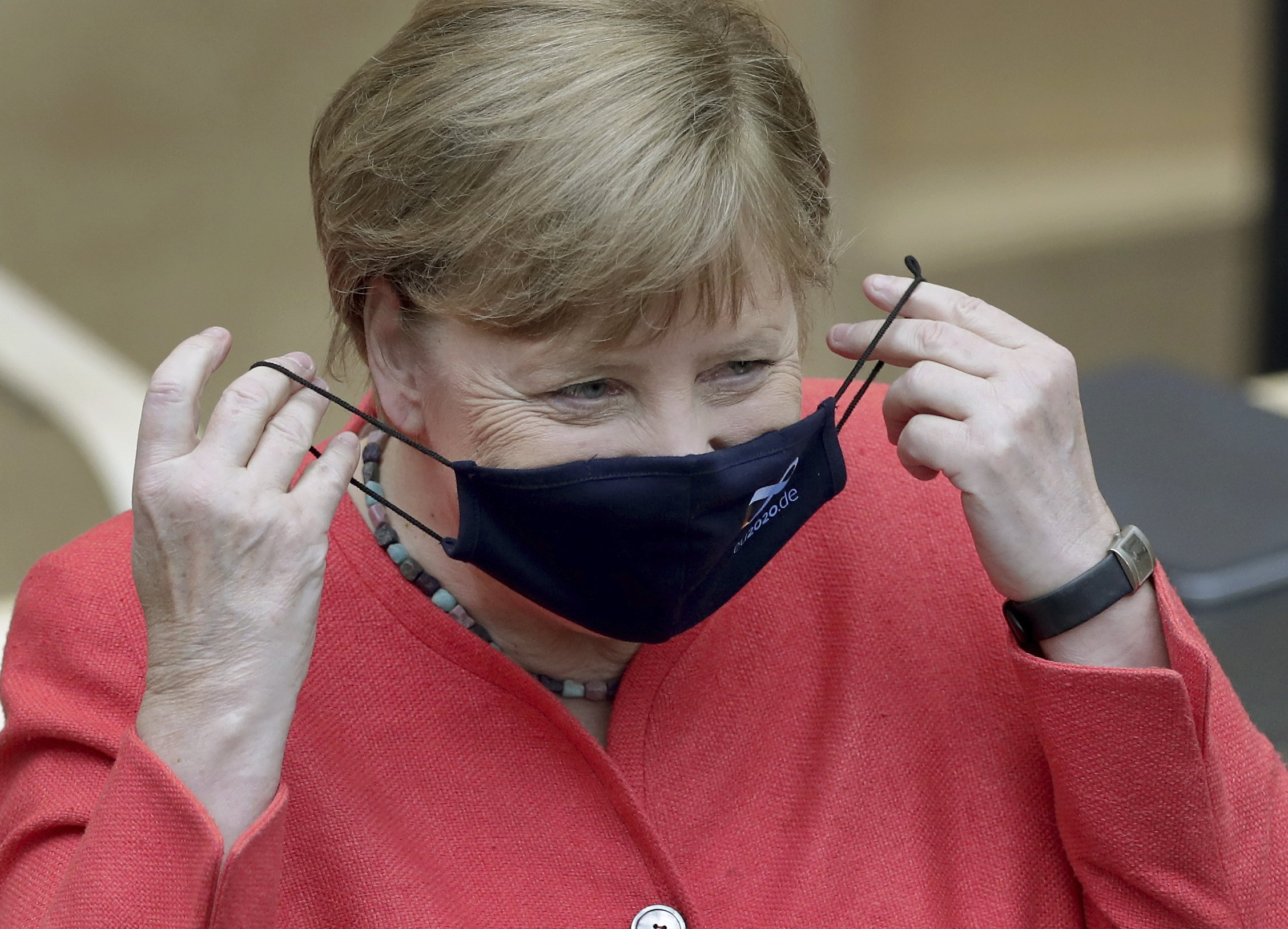 Germany's Merkel pictured wearing mask in public