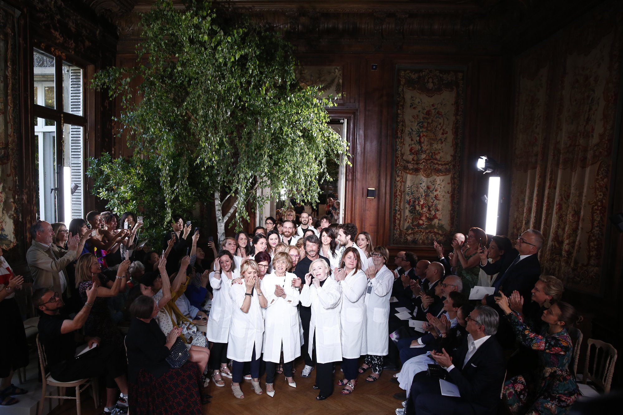 Dion, Paltrow mingle with the organic at Valentino couture