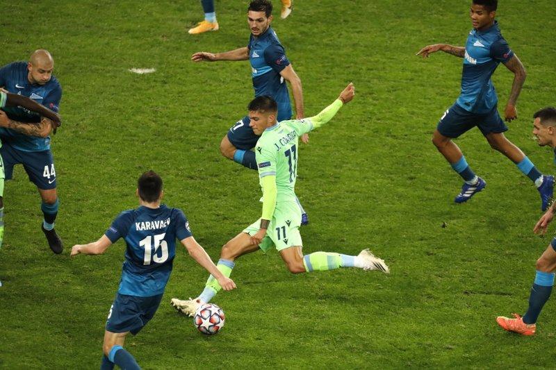 Lazio draws 1-1 at Zenit, stays unbeaten in Champions League