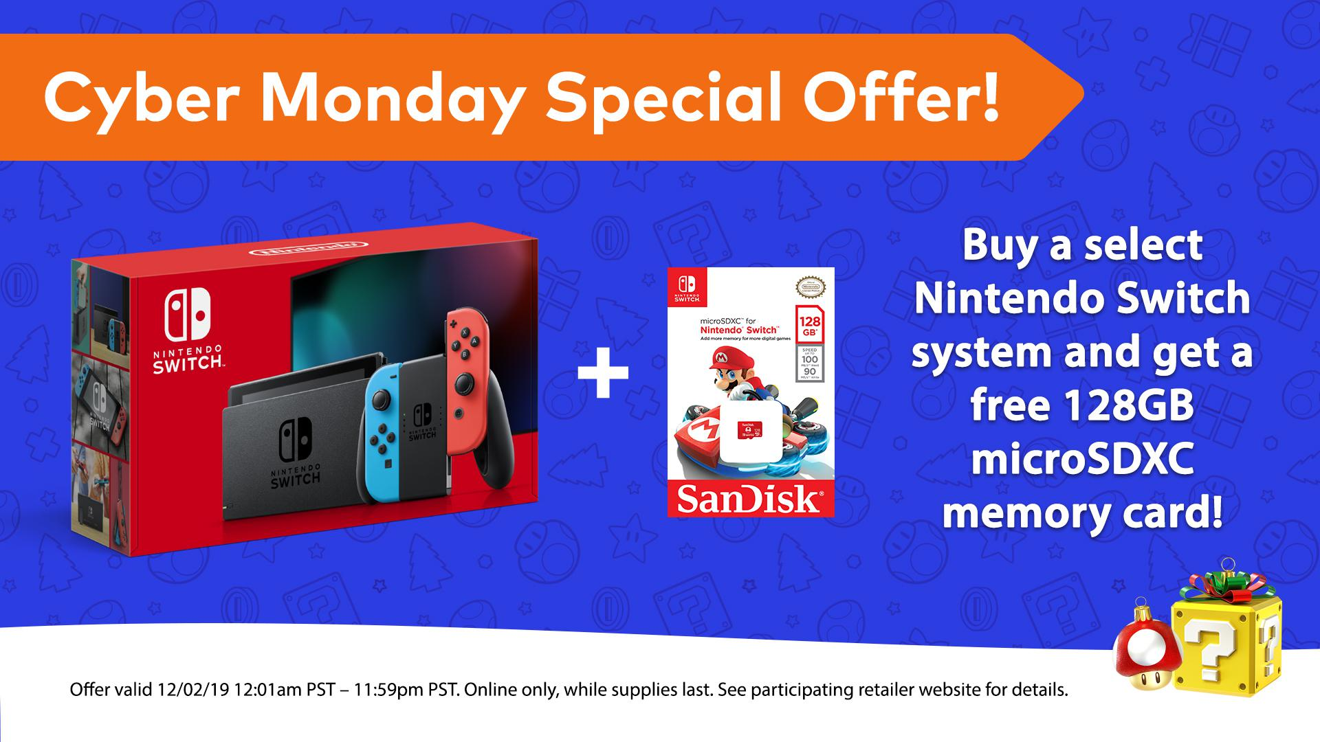 Purchase Nintendo Switch On Cyber Monday And Receive A Free 128gb Microsd Card