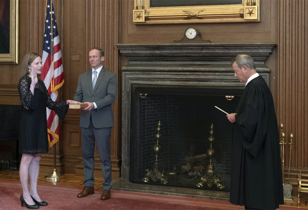 Newly Appointed Supreme Court Justice Amy Coney Barrett Faces Immediate 'Baptism by Fire' as She Faces Decisions on Voting Rights, Obamacare, Catholic Bans on Homosexual Couples Adopting Children, and Possibly the Election Itself
