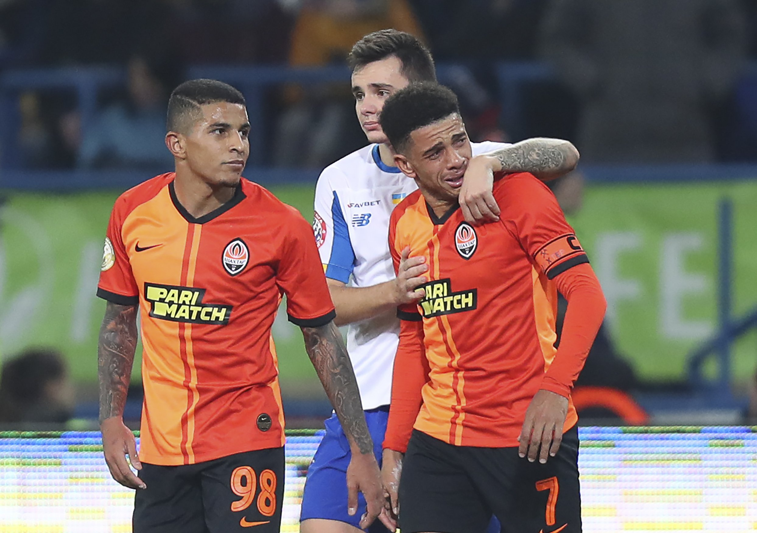 Brazilian player sent off in Ukraine for reaction to racism