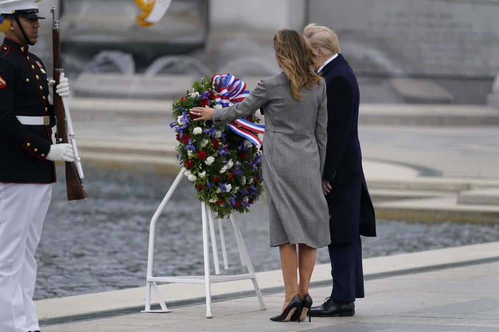 President Donald Trump joins veterans in a commemoration at the World War II Memorial