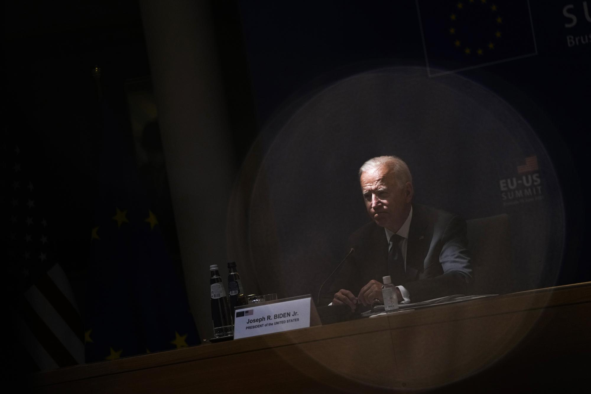 U.S. President Joe Biden listens to comments during the EU-US summit at the European Council building in Brussels, Tuesday, June 15, 2021. (AP Photo/Francisco Seco)