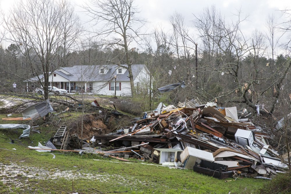 Eastward storms leave trail of damage in Deep South