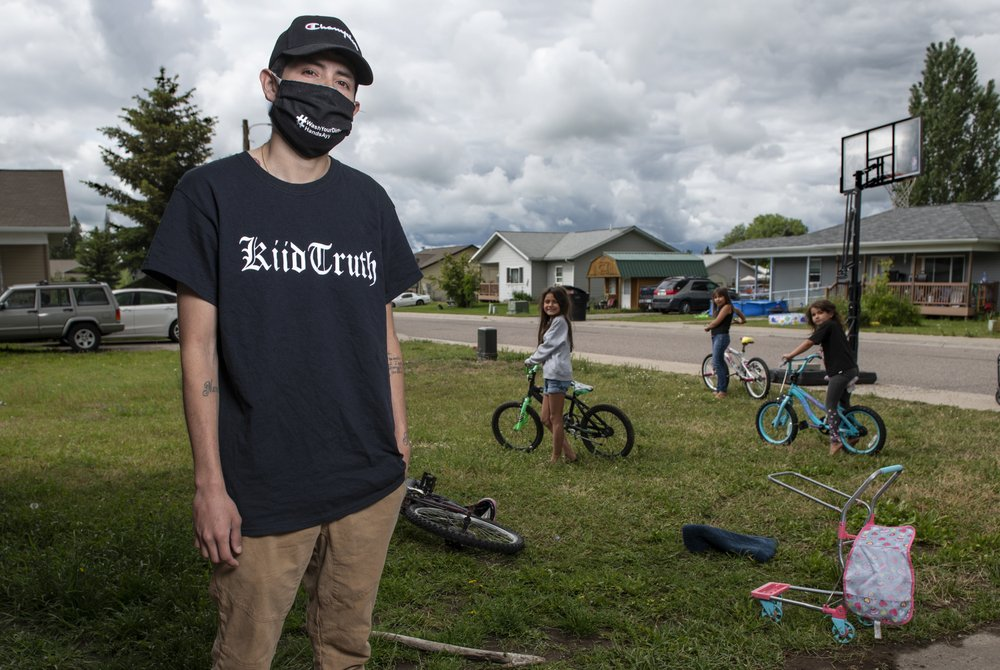 A good deed:  young hip-hop artist KiidTruth raps out a serious message about coronavirus pandemic plague to help educate children
