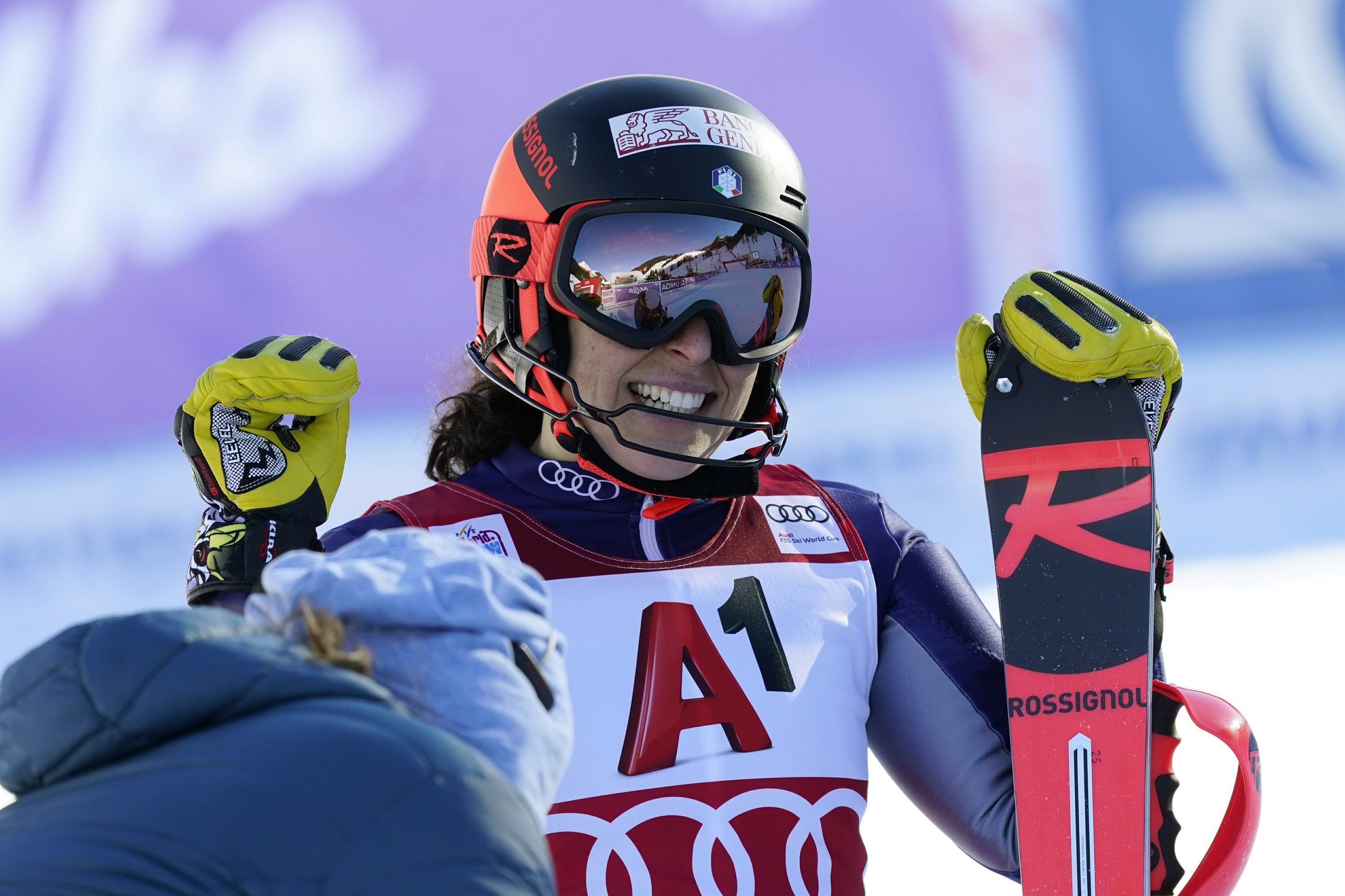 Brignone wins World Cup combined event; Shiffrin skis out
