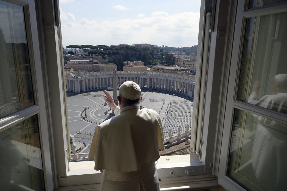 Pope Francis Gives His Blessing to an Empty St. Peter's Square