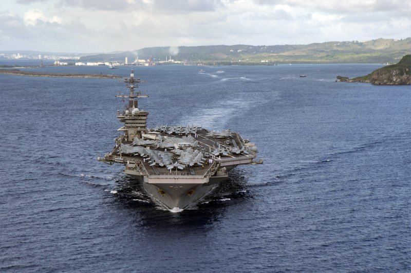 Navy carrier warships,  U.S.S. Theodore Roosevelt sidelined by virus is back at sea in the Pacific