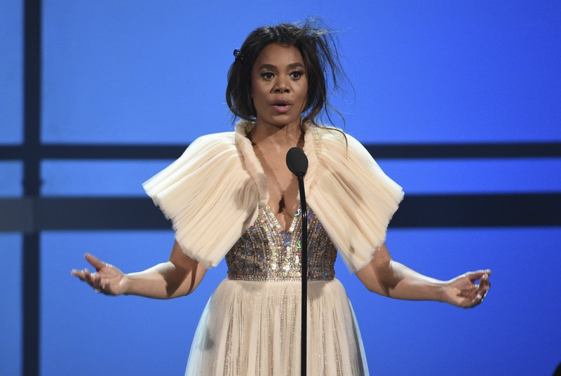 Host Regina Hall speaks at the BET Awards on Sunday, June 23, 2019, at the Microsoft Theater in Los Angeles. (Photo by Chris Pizzello/Invision/AP)