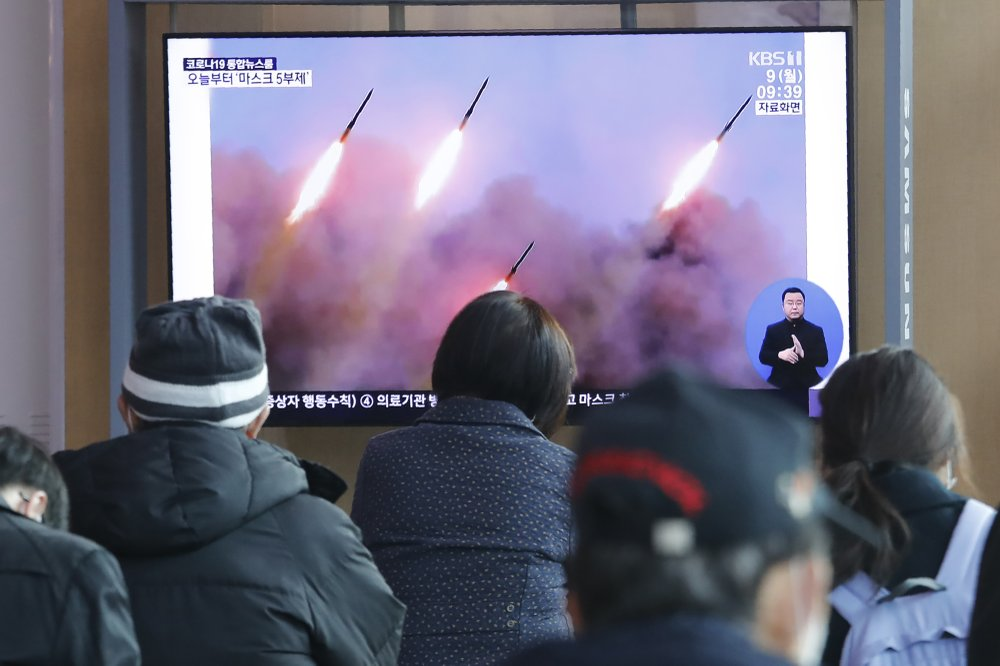 South Korea monitoring North Korea which fired three unidentifiable projectiles off its east coast