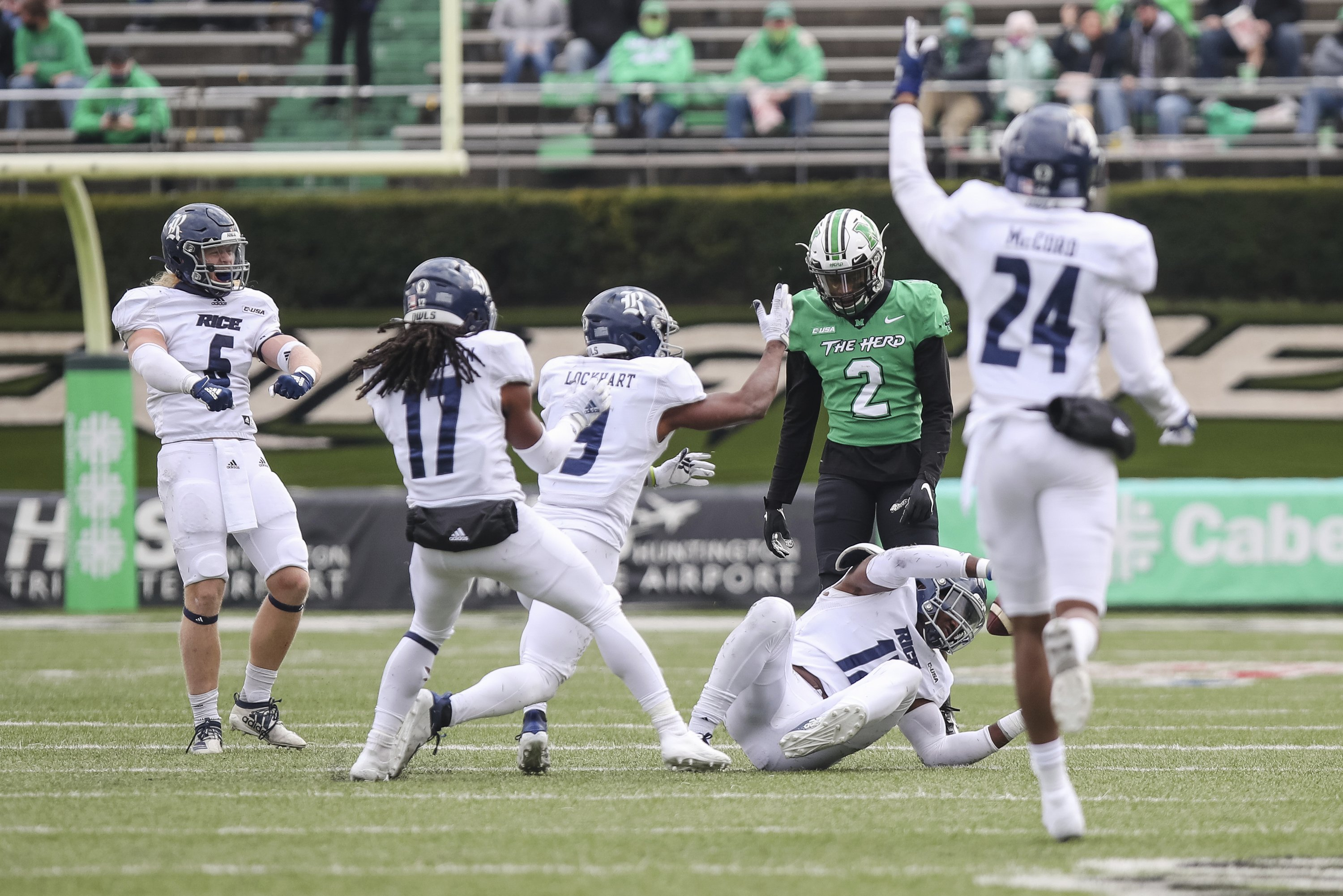 Rice uses 5 interceptions to upset No. 15 Marshall 20-0
