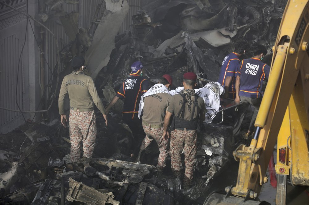 Pakistan jet with 98 aboard crashes from engine failure