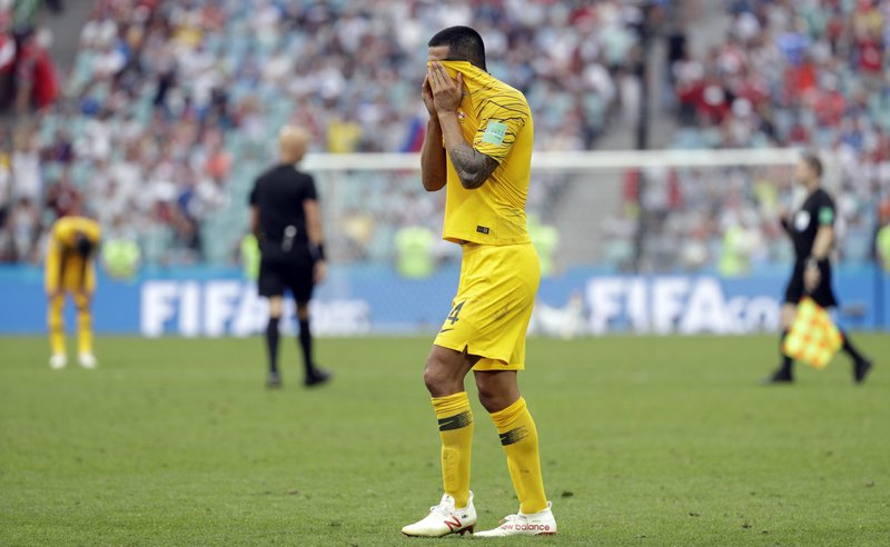 Australia's Tim Cahill reacts in dejection at the end of the group C match between Australia and Peru, at the 2018 soccer World Cup in the Fisht Stadium in Sochi, Russia, Tuesday, June 26, 2018. Peru won 2-0.