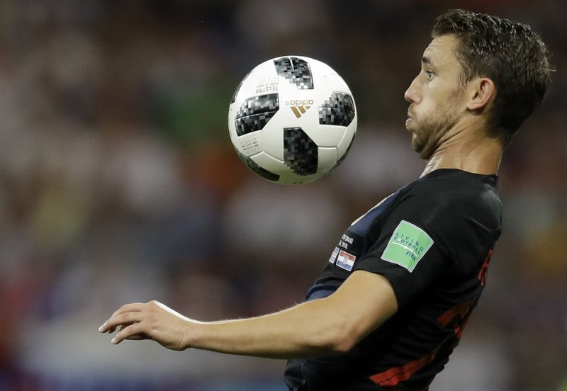 Croatia's Josip Pivaric prepares to chest the ball during the group D match between Iceland and Croatia, at the 2018 soccer World Cup in the Rostov Arena in Rostov-on-Don, Russia, Tuesday, June 26, 2018.