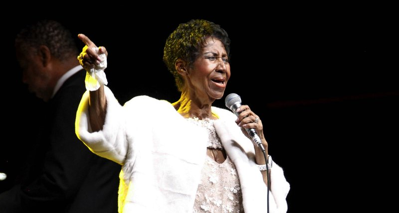 FILE - In this Nov. 7, 2017 file photo, Aretha Franklin attends the Elton John AIDS Foundation's 25th Anniversary Gala in New York.  Franklin died Thursday, Aug. 16, 2018 at her home in Detroit.  She was 76.  (Photo by Andy Kropa/Invision/AP, File)