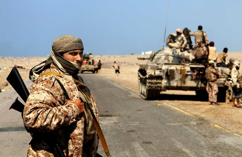 Coalition-backed fighters advance on Yemen's Red Sea port town of Mocha in this Jan. 11 2017, photo. The coalition forces eventually captured the town from Shiite rebels known as Houthis. Some fighters in the unit were openly al-Qaida, wearing Afghan-style garb and carrying weapons with an al-Qaida logo, a sign of how closely the militants have been involved in the war against the Houthis, who are seen by Saudi Arabia and the United Arab Emirates as a proxy for Iranian influence. (AP Photo)