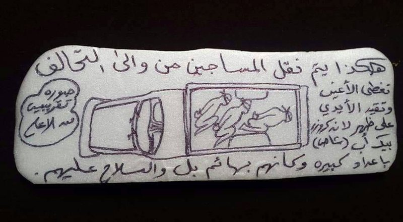 """A drawing of prisoners being transported in a pickup truck to an Emirati-run prison in Yemen. The Arabic reads: """"This is how they transport the prisoners from and to the coalition. Blindfolded and handcuffed in the back of a Land Cruiser pickup in large numbers as if they are animals and under gunpoint."""""""