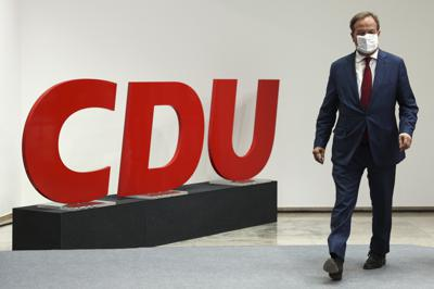 Christian Democratic Union (CDU) leader and the party's top candidate for parliamentary elections Armin Laschet looks on during a news conference after a party leadership meeting, in Berlin, Germany Aug. 16, 2021. (Christian Mang/Pool via AP)