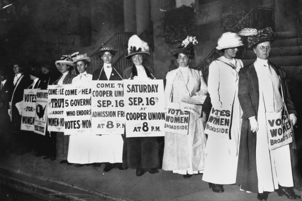 FILE - In this September 1916 file photo, demonstrators hold a rally for women's suffrage in New York. The Seneca Falls convention in 1848 is widely viewed as the launch of the women's suffrage movement, yet women didn't gain the right to vote until ratification of the 19th Amendment in 1920. (AP Photo/File)