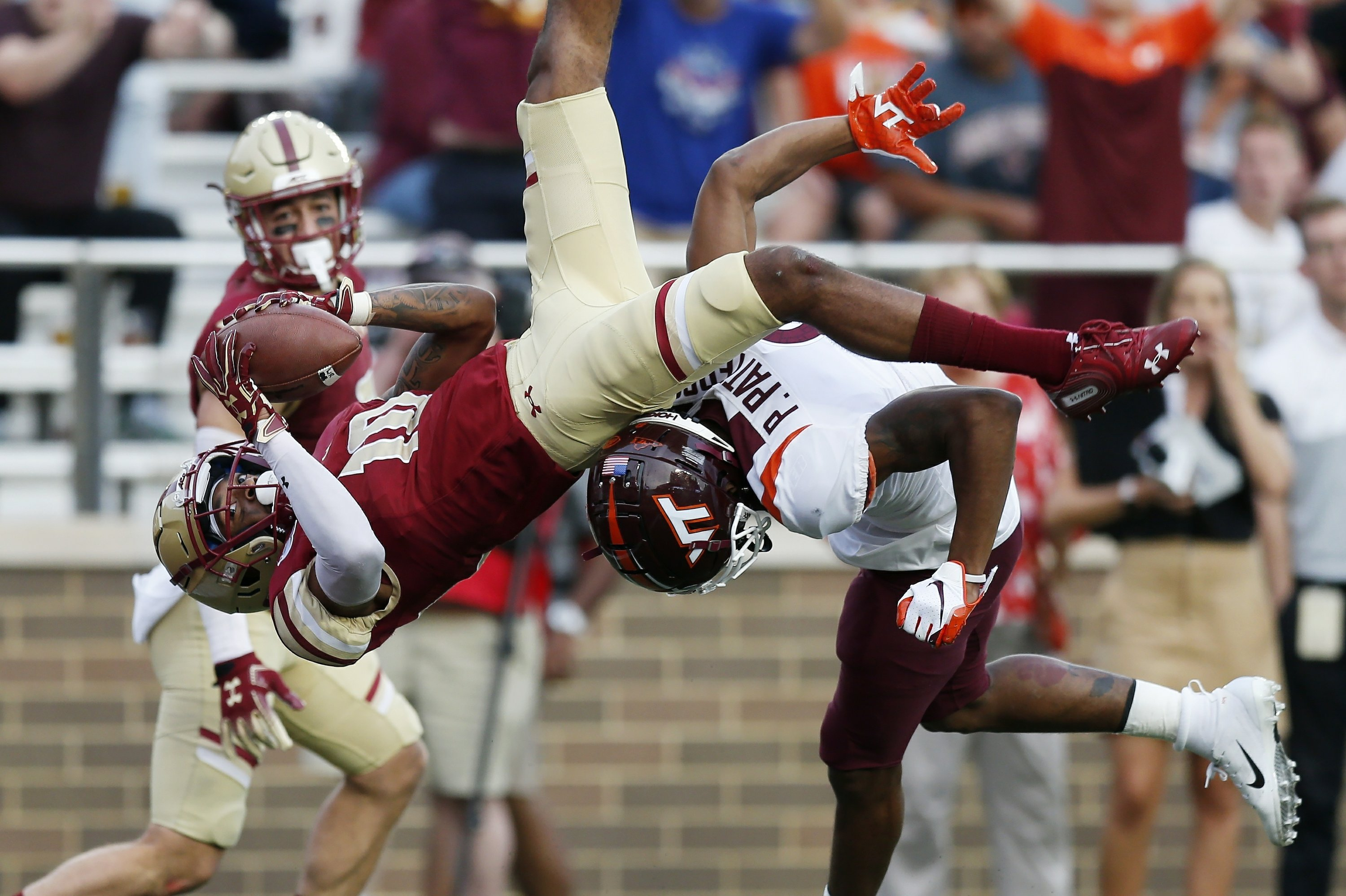 Brown's 2 TD passes and 1 run leads BC past Va  Tech 35-28