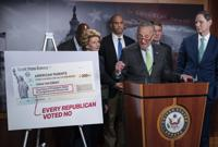 FILE - Senate Majority Leader Chuck Schumer, D-N.Y., holds a news conference to talk about the benefits of the Child Tax Credit, at the Capitol in Washington, Thursday, July 15, 2021. President Joe Biden and leading Democratic lawmakers have been fighting to make permanent a child tax credit that would give families at least $300 a month per child. But the latest budget deal would extend the payments through the end of the next year. (AP Photo/J. Scott Applewhite)