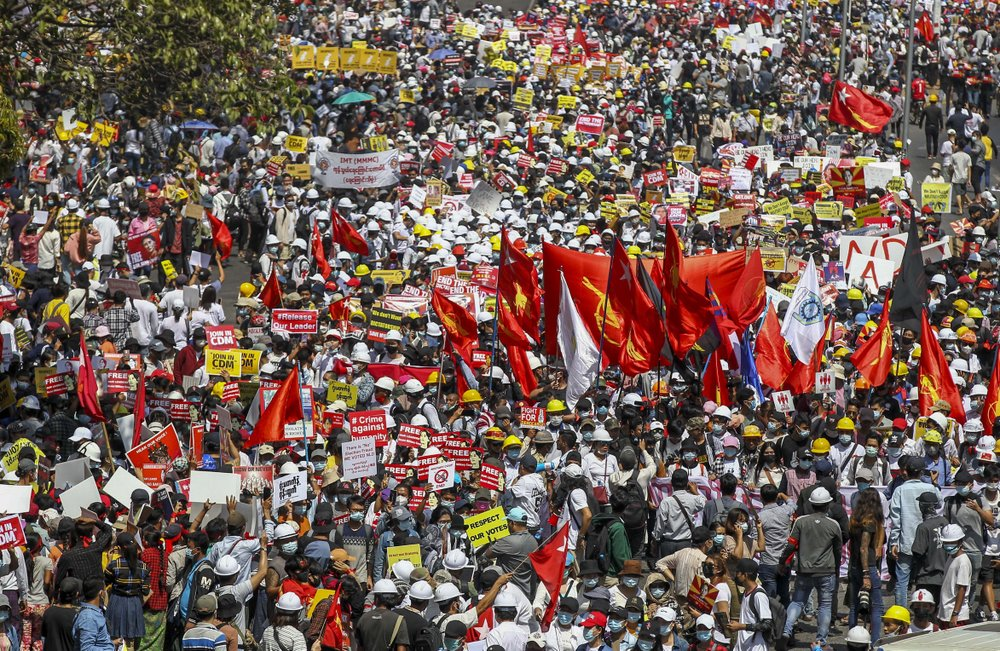 Largest numbers so far in Myanmar to protest military's seizure of power despite UN warning of violence