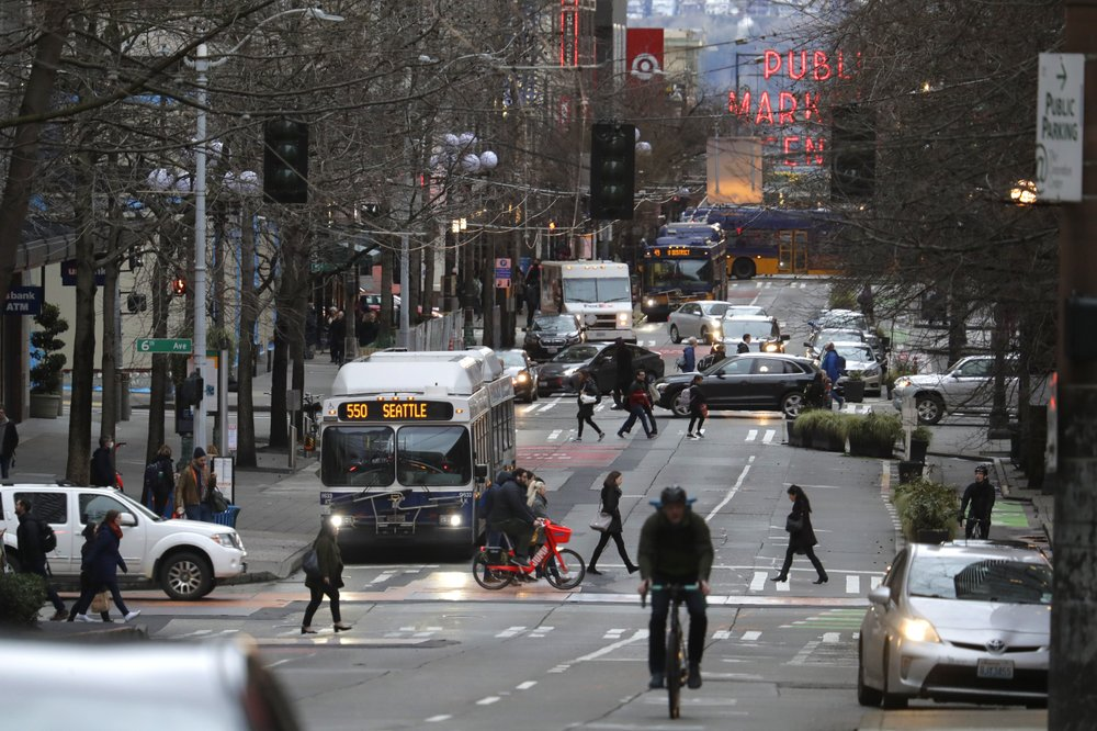 """You can see it and feel it on the streets,"""" said John Scholes CEO and president of the Downtown  Seattle Association as the coronavirus empties Seattle's usually busy downtown streets"""