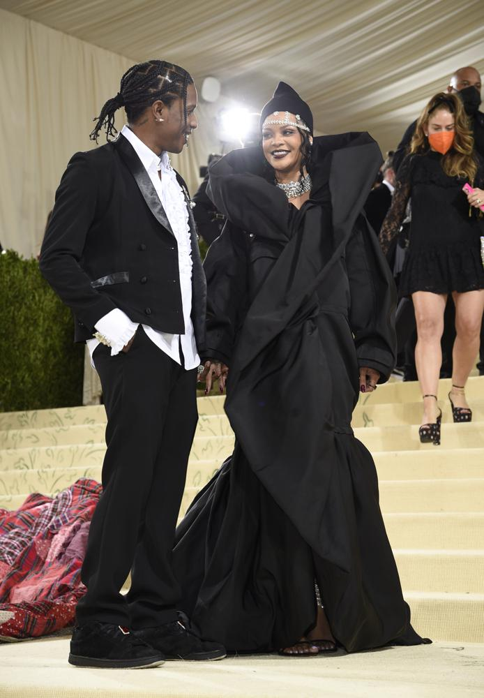 """A$AP Rocky, left, and Rihanna attend The Metropolitan Museum of Art's Costume Institute benefit gala celebrating the opening of the """"In America: A Lexicon of Fashion"""" exhibition on Monday, Sept. 13, 2021, in New York. (Photo by Evan Agostini/Invision/AP)"""