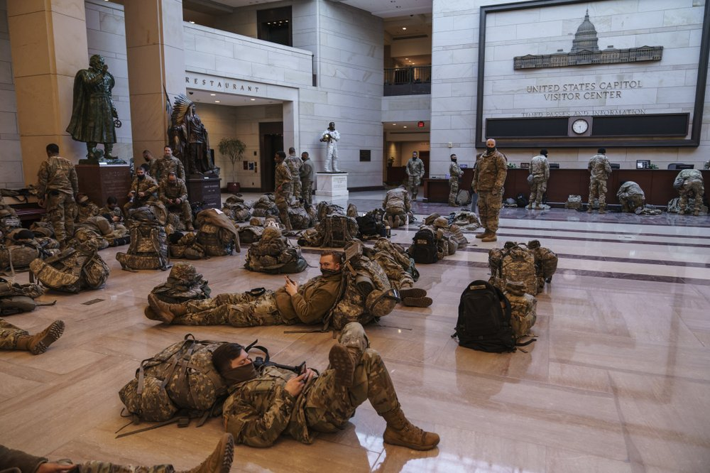 Is the National Guard sleeping in the Capitol an echo of Civil War?
