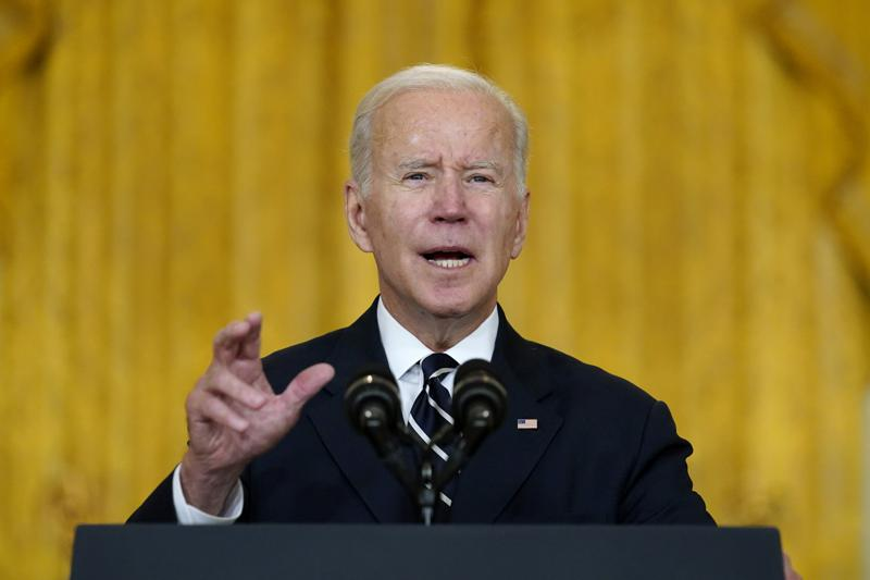 President Joe Biden speaks about his domestic agenda from the East Room of the White House in Washington, Thursday, Oct. 28, 2021. (AP Photo/Susan Walsh)