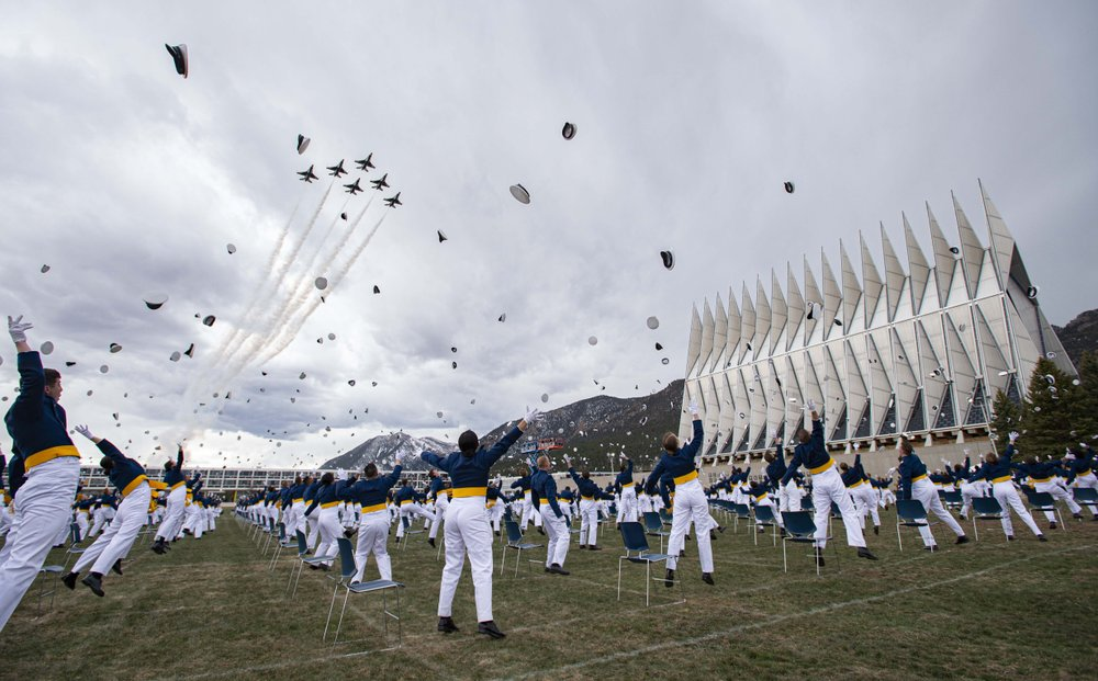 Vice President Mike Pence delivers a commencement address to the U.S. Air Force Academy's graduating class