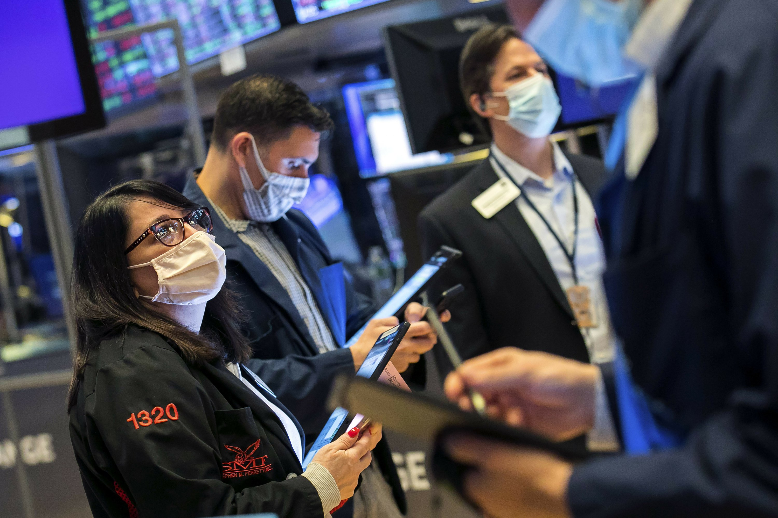A bumpy day leaves stocks mostly lower; bond yields ease