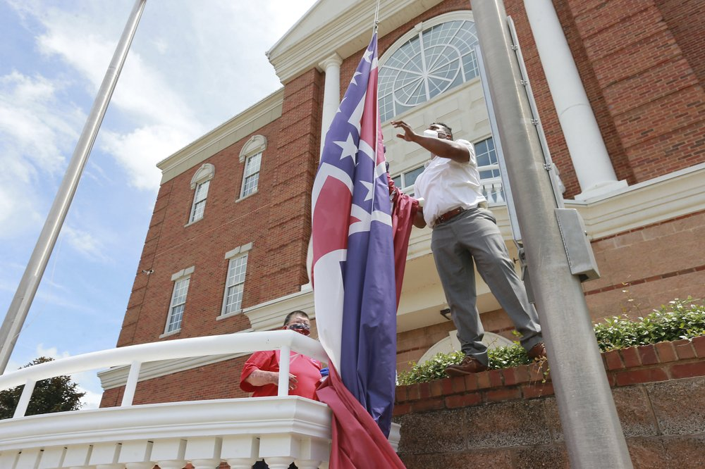 The Mississippi flag is fading from public display in many places