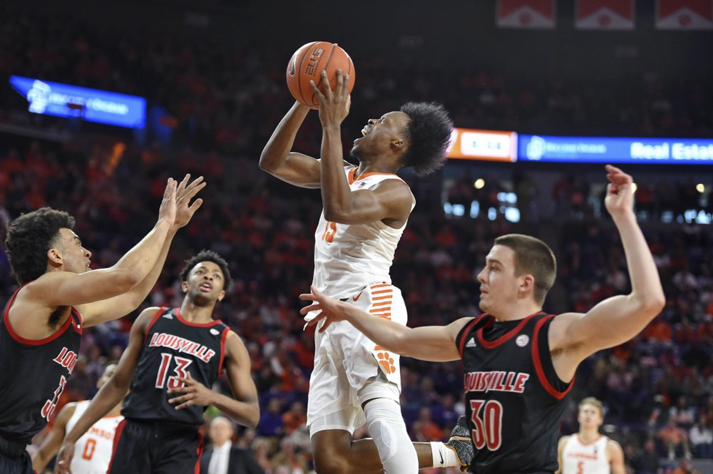Clemson, Newman surprise No. 5 Louisville with 77-62 win