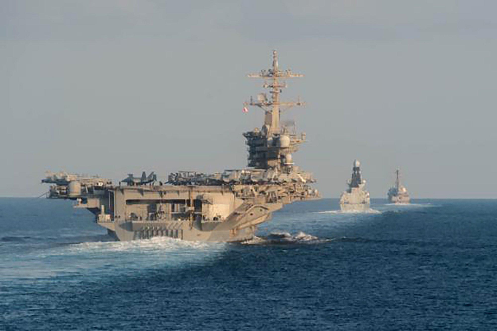US Navy carrier transits Strait of Hormuz after deployment